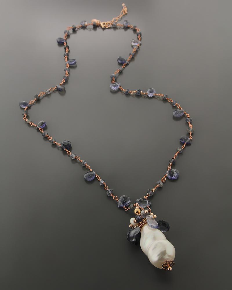 Κολιέ ασημένιο 925 με Αμέθυστο & Μαργαριτάρια   γυναικα κρεμαστά κολιέ κρεμαστά κολιέ ασημένια