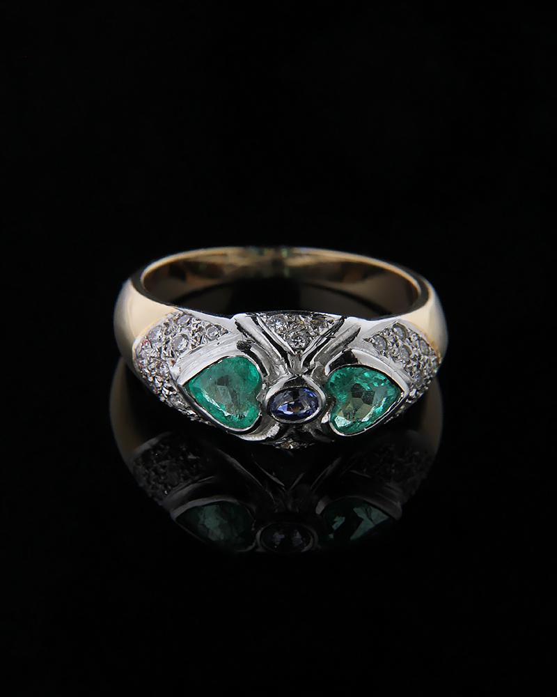 Δαχτυλίδι λευκόχρυσο & χρυσό Κ18 με Σμαράγδι & Διαμάντια