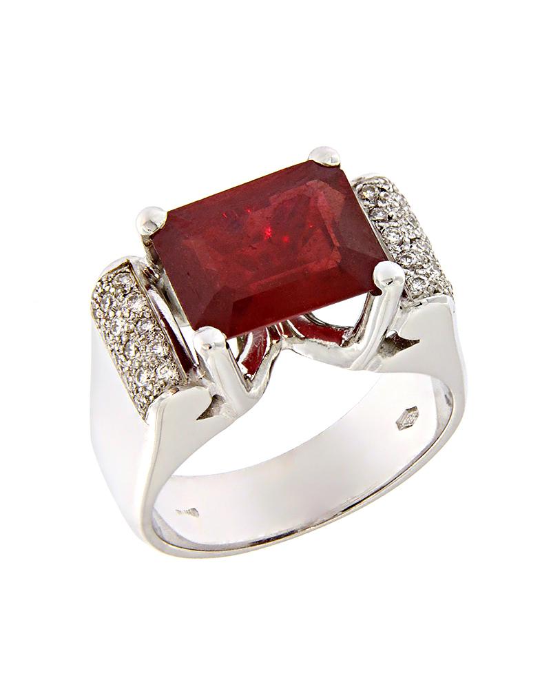 Δαχτυλίδι λευκόχρυσο Κ18 με Ρουμπίνι & Διαμάντια   γυναικα δαχτυλίδια δαχτυλίδια διαμάντια