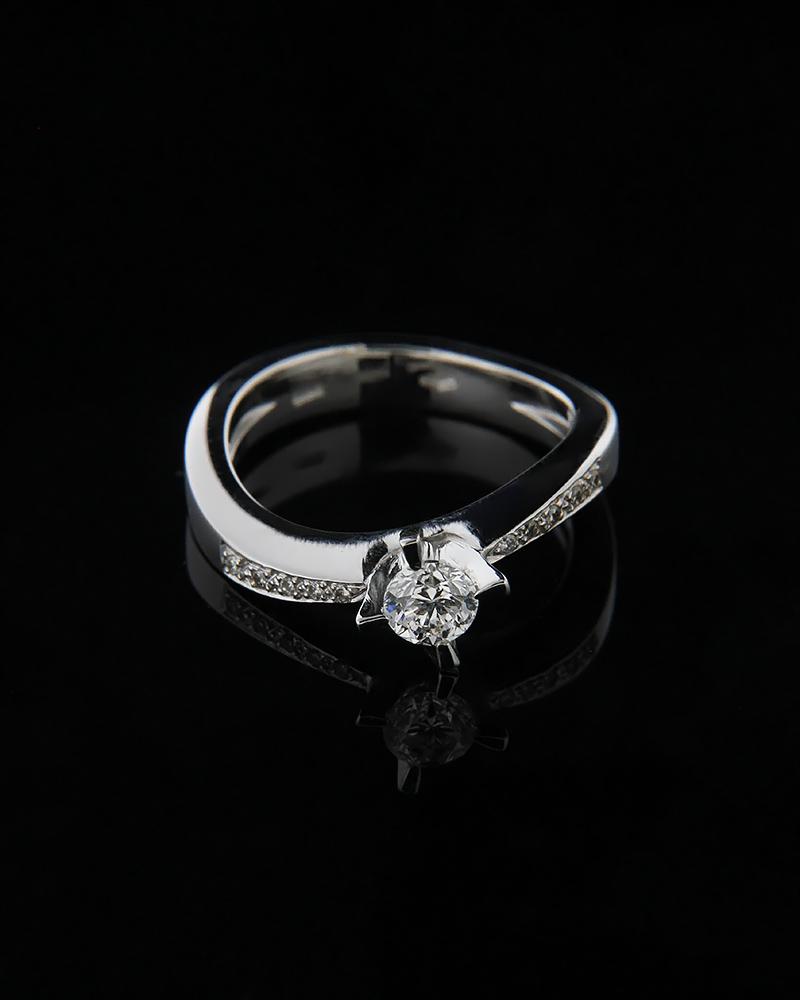 Μονόπετρο δαχτυλίδι λευκόχρυσο Κ18 με Διαμάντια   γαμοσ μονόπετρα μονοπετρα με διαμάντια