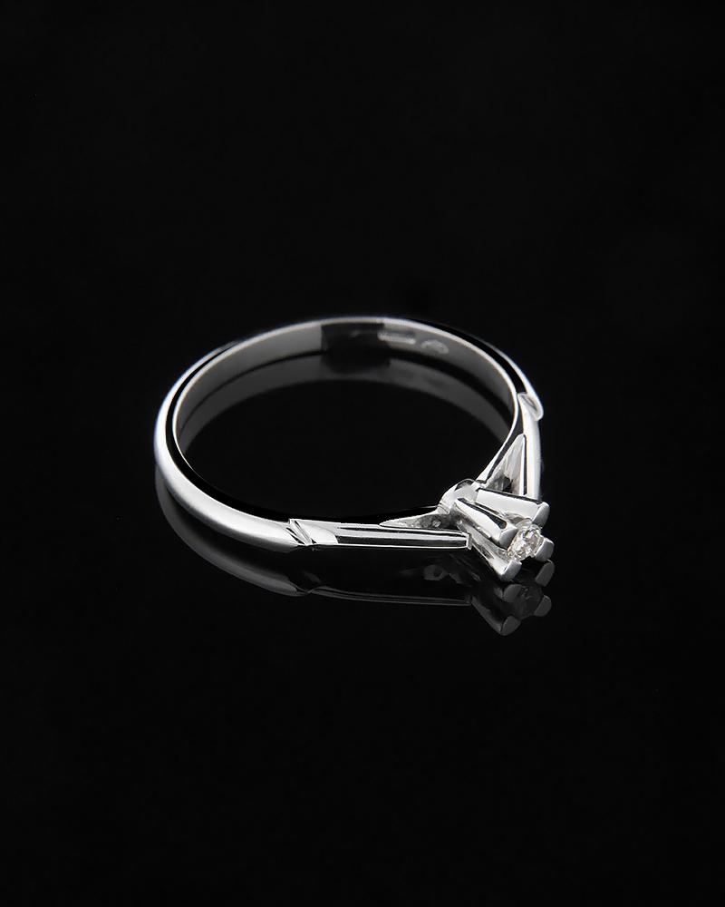 Μονόπετρο δαχτυλίδι λευκόχρυσο Κ18 με Διαμάντι