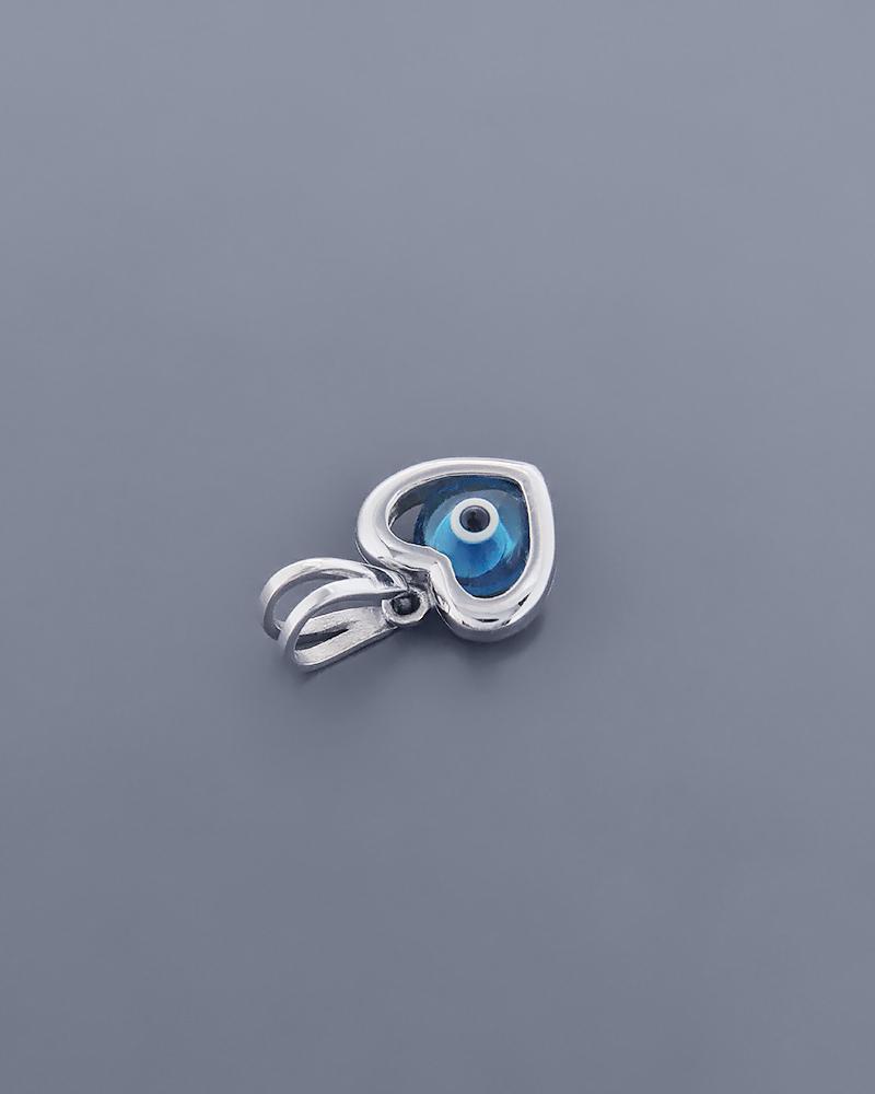 Κρεμαστό μάτι καρδιά λευκόχρυσο Κ14   γυναικα κοσμήματα με ματάκι