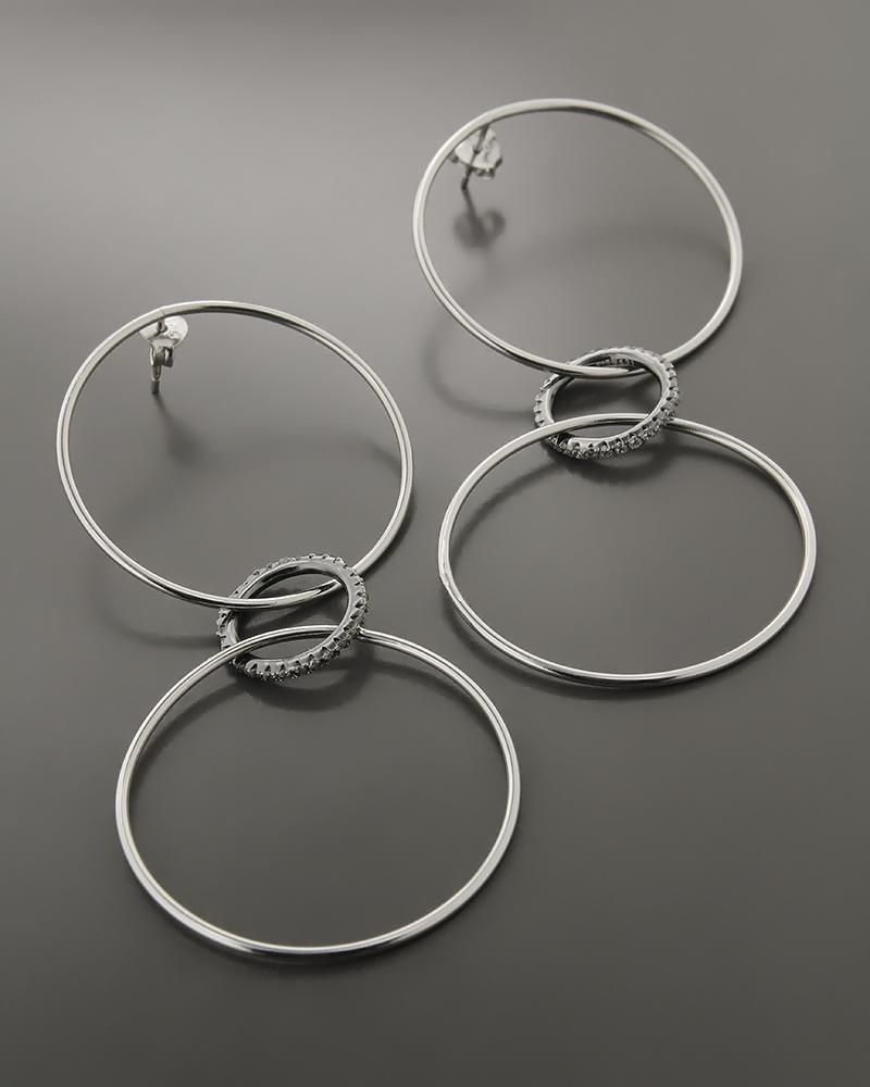 Σκουλαρίκια κρίκοι ασημένια με Ζιργκόν   γυναικα σκουλαρίκια σκουλαρίκια κρίκοι