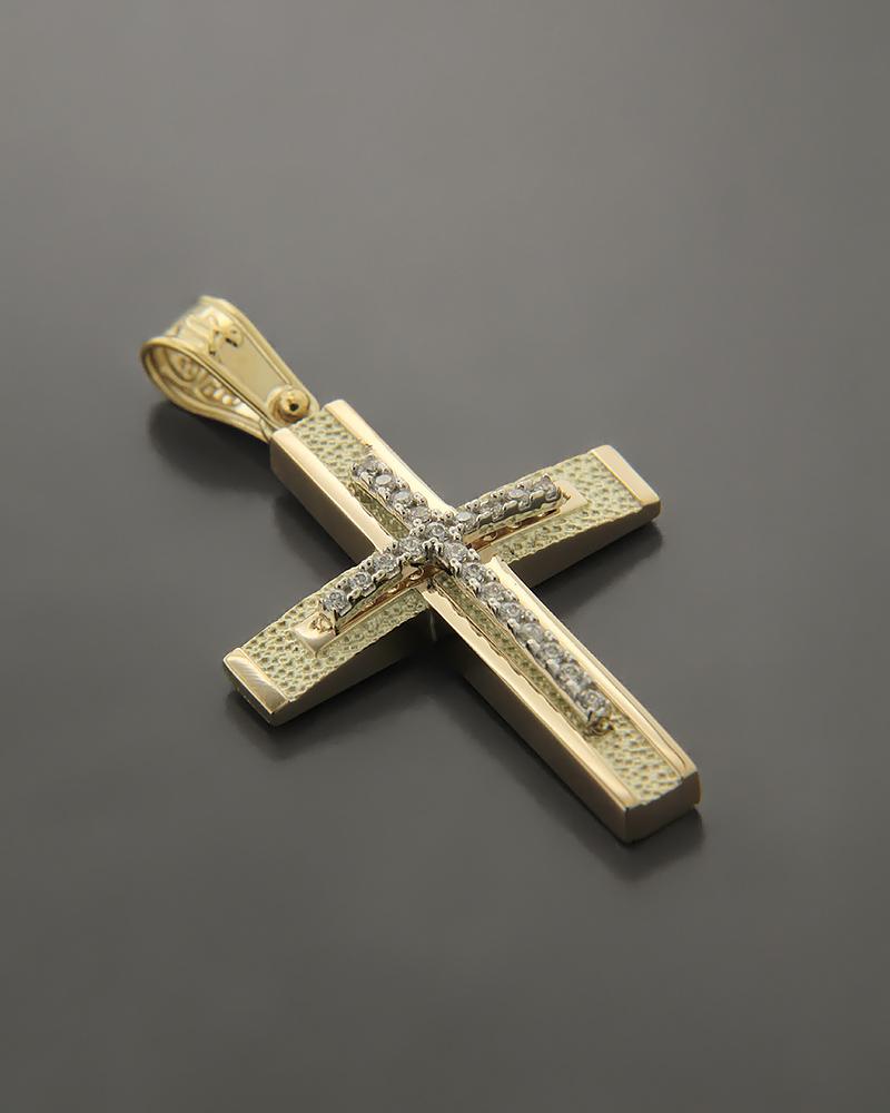 Σταυρός χρυσός K14 με ζιργκόν