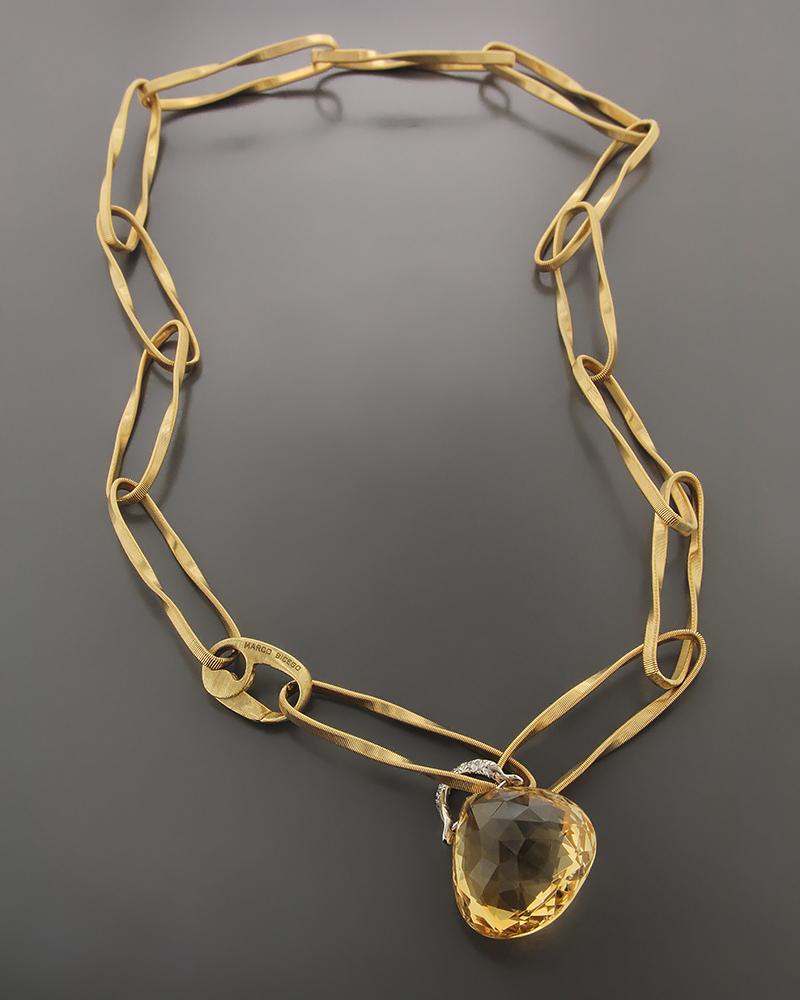 Κολιέ χρυσό Κ18 με Citrine & Ζιργκόν   γυναικα κρεμαστά κολιέ κρεμαστά κολιέ χρυσά