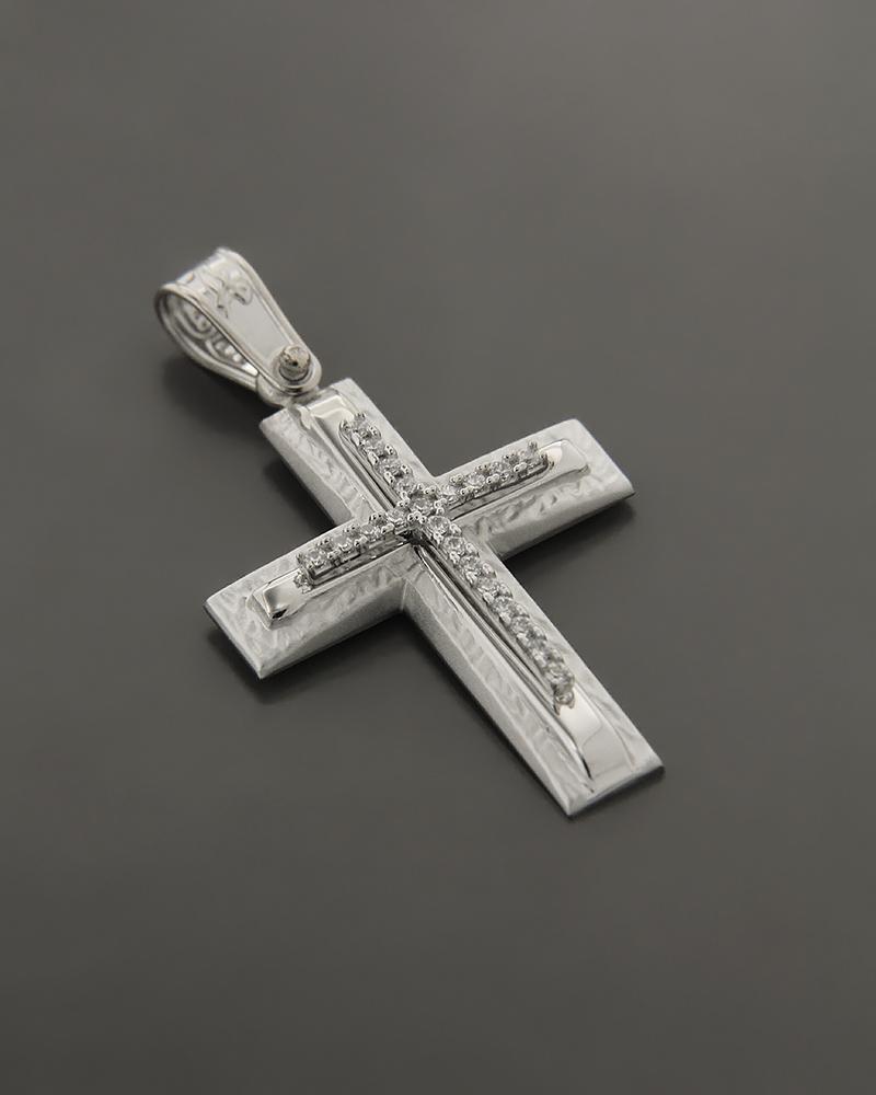 Σταυρός λευκόχρυσος K14 με ζιργκόν   παιδι βαπτιστικοί σταυροί βαπτιστικοί σταυροί για κορίτσι