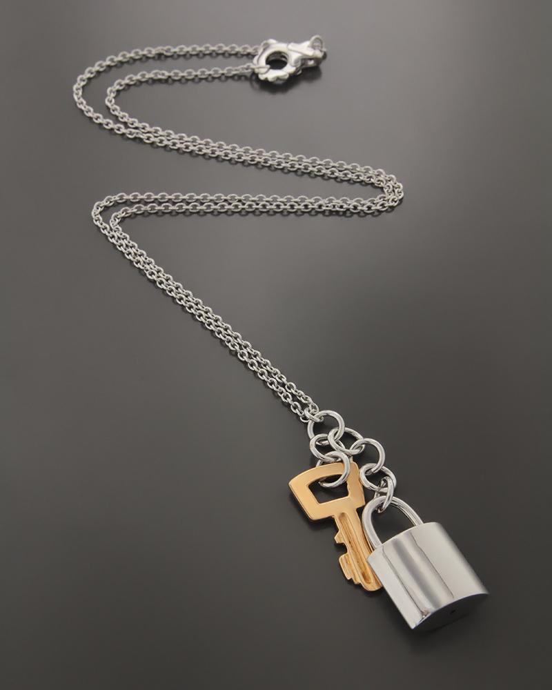 Κολιέ λευκόχρυσο & ροζ χρυσό Κ18 με κλειδωνιά & κλειδί   γυναικα κρεμαστά κολιέ κρεμαστά κολιέ λευκόχρυσα