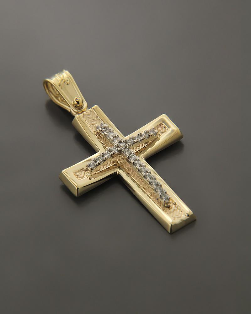 Σταυρός χρυσός και λευκόχρυσος K14 με ζιργκόν   παιδι βαπτιστικοί σταυροί βαπτιστικοί σταυροί για κορίτσι
