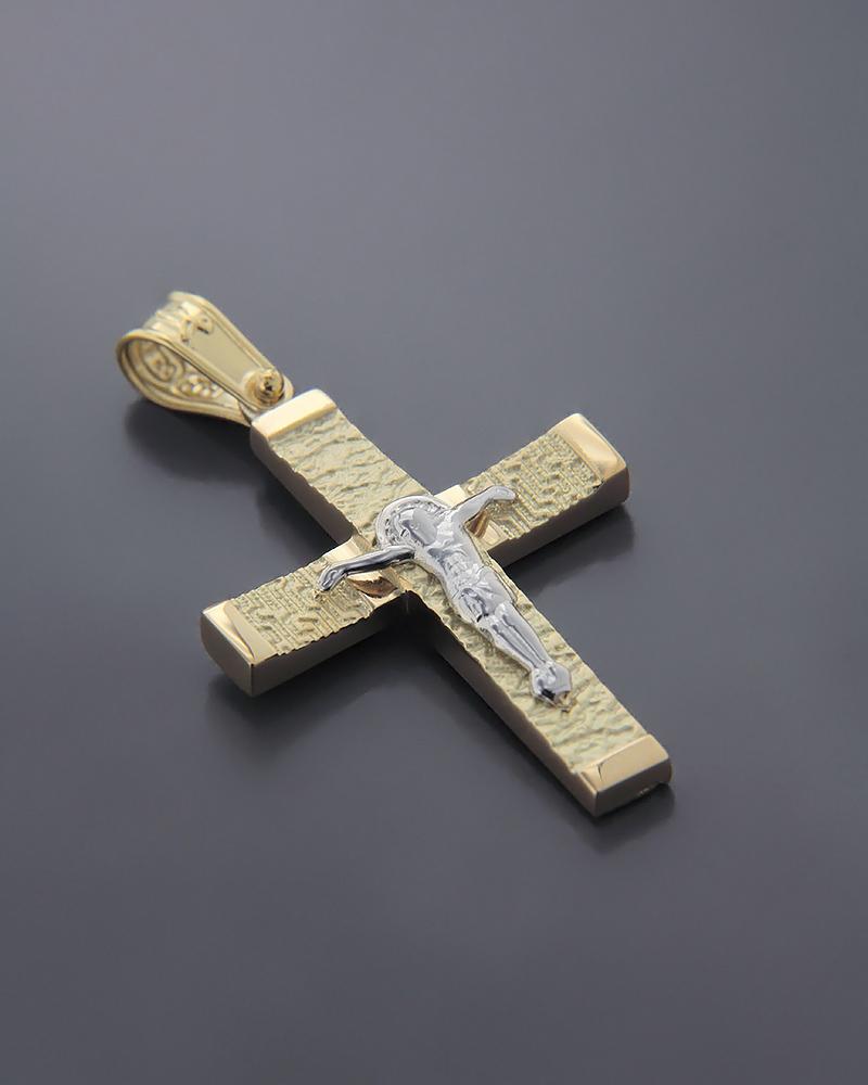 Σταυρός χρυσός και λευκόχρυσος K14   παιδι βαπτιστικοί σταυροί βαπτιστικοί σταυροί για αγόρι