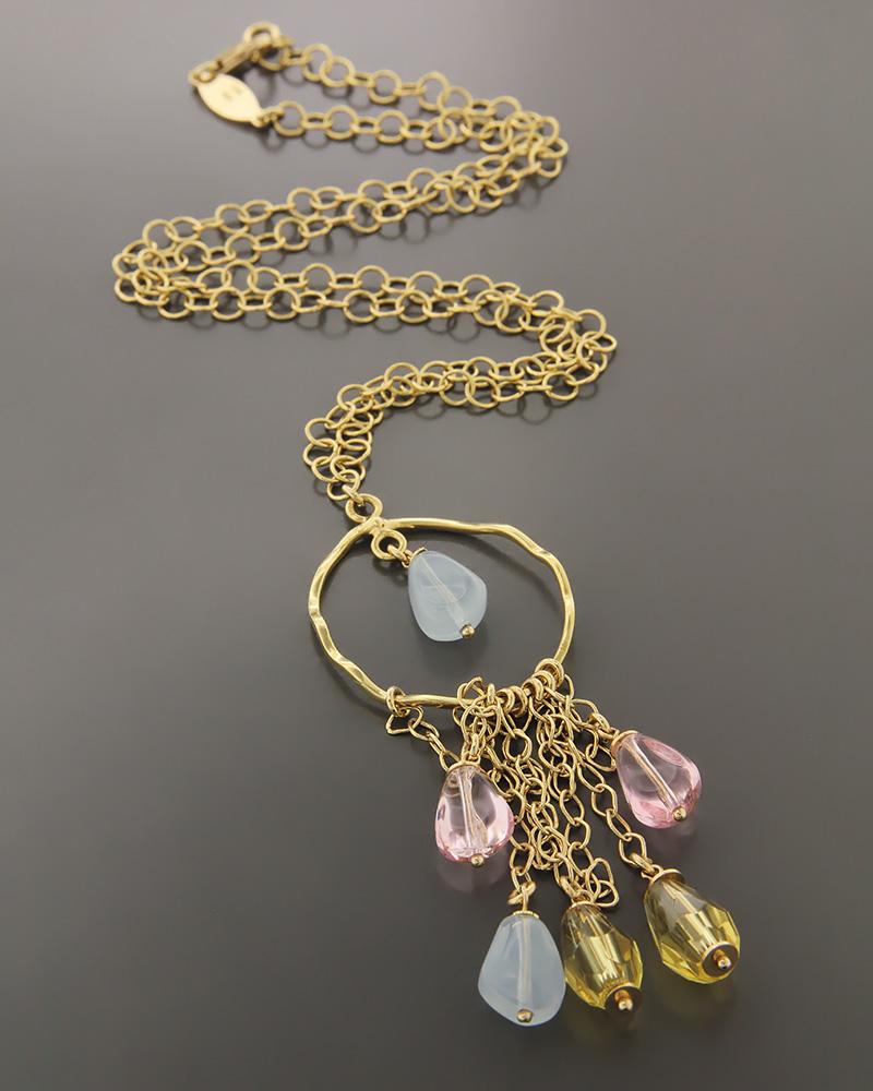 Κολιέ χρυσό Κ14 με Quartz   γυναικα κρεμαστά κολιέ κρεμαστά κολιέ χρυσά