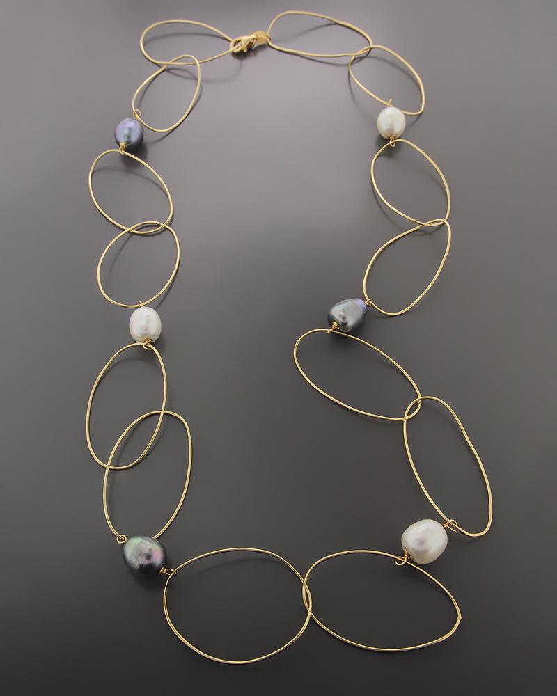 Κολιέ χρυσό Κ18 με Μαργαριτάρια   γυναικα κρεμαστά κολιέ κρεμαστά κολιέ χρυσά