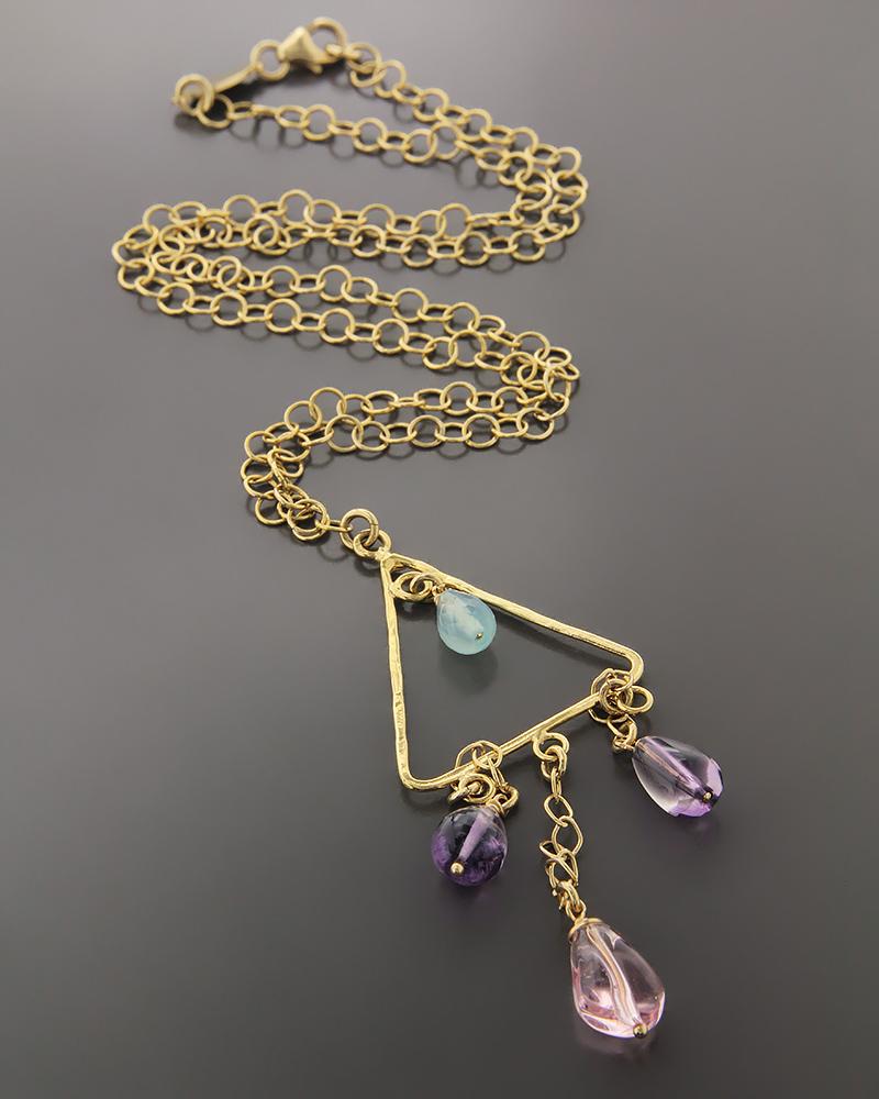 Κολιέ χρυσό Κ18 με Αμέθυστο & Quartz   γυναικα κρεμαστά κολιέ κρεμαστά κολιέ χρυσά