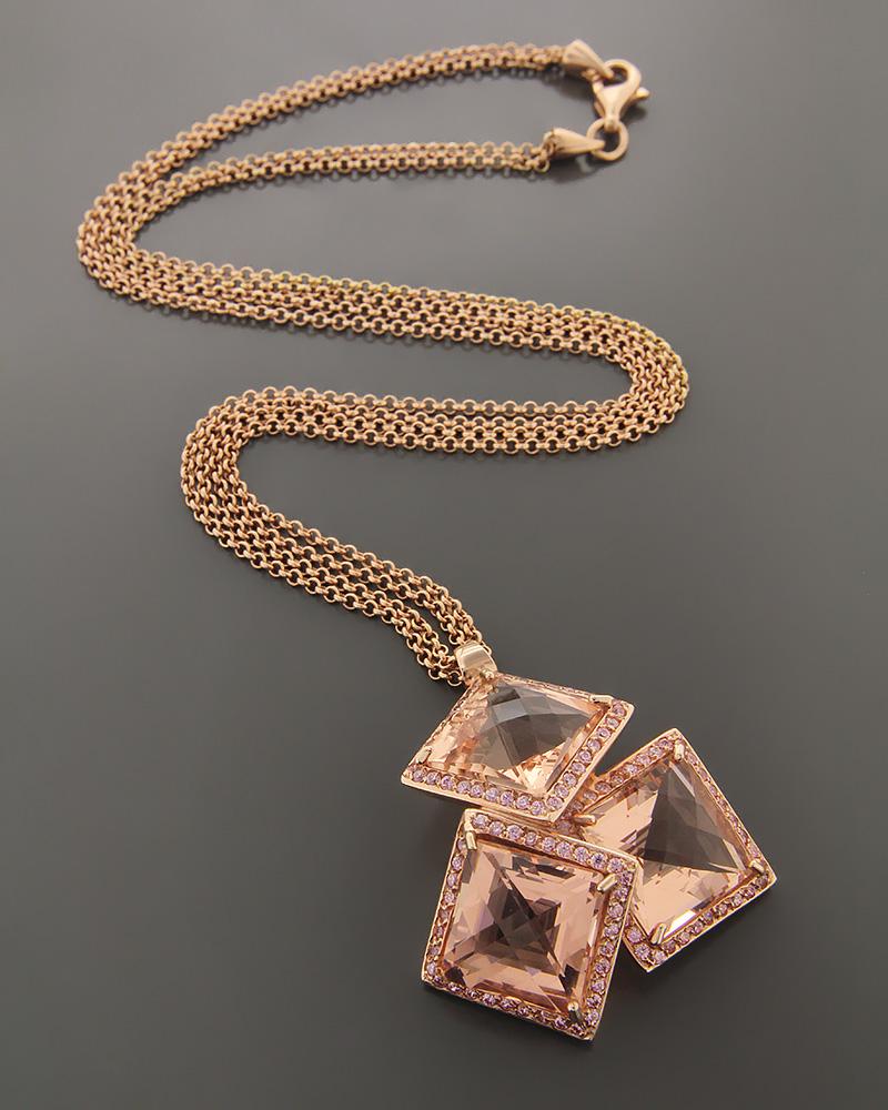 Κολιέ ροζ χρυσό Κ18 με Quartz & Ζιργκόν   γυναικα κρεμαστά κολιέ κρεμαστά κολιέ ροζ χρυσό