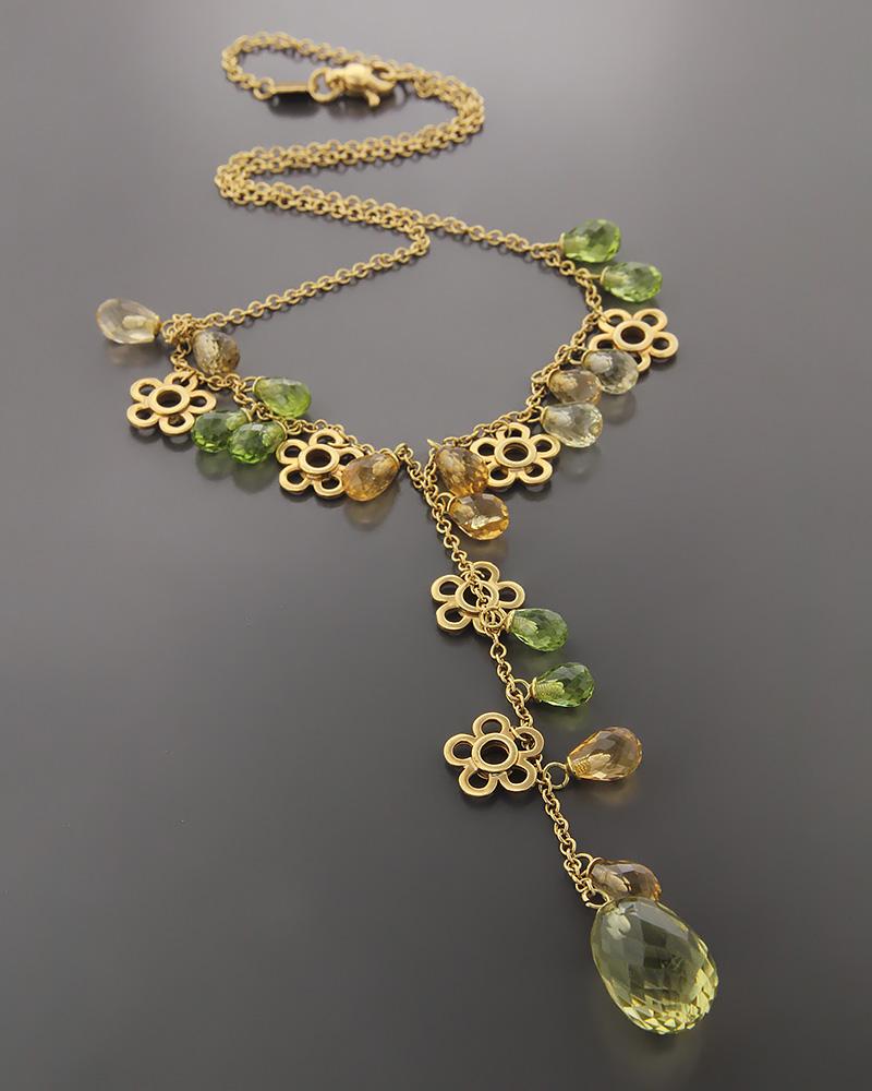 Κολιέ χρυσό Κ18 με Περιδοτίτη & Citrine   γυναικα κρεμαστά κολιέ κρεμαστά κολιέ χρυσά