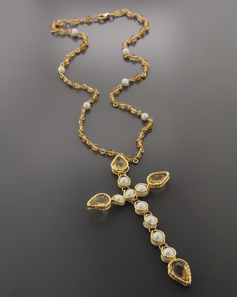 Κολιέ χρυσό Κ18 με Citrine & Μαργαριτάρια   κοσμηματα κρεμαστά κολιέ κρεμαστά κολιέ ημιπολύτιμοι λίθοι