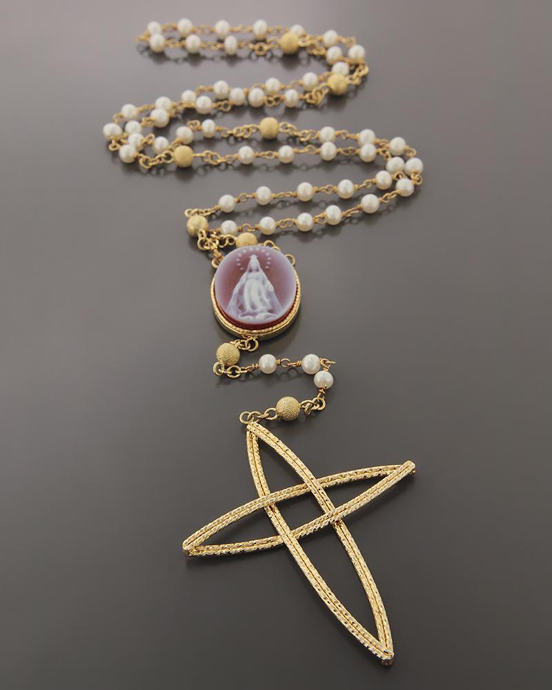 Κολιέ χρυσό Κ14 με Καμέο & Μαργαριτάρια   νεεσ αφιξεισ κοσμήματα γυναικεία