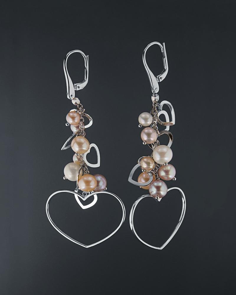 Σκουλαρίκια λευκόχρυσα Κ18 με πέρλες   γυναικα κοσμήματα με καρδιές