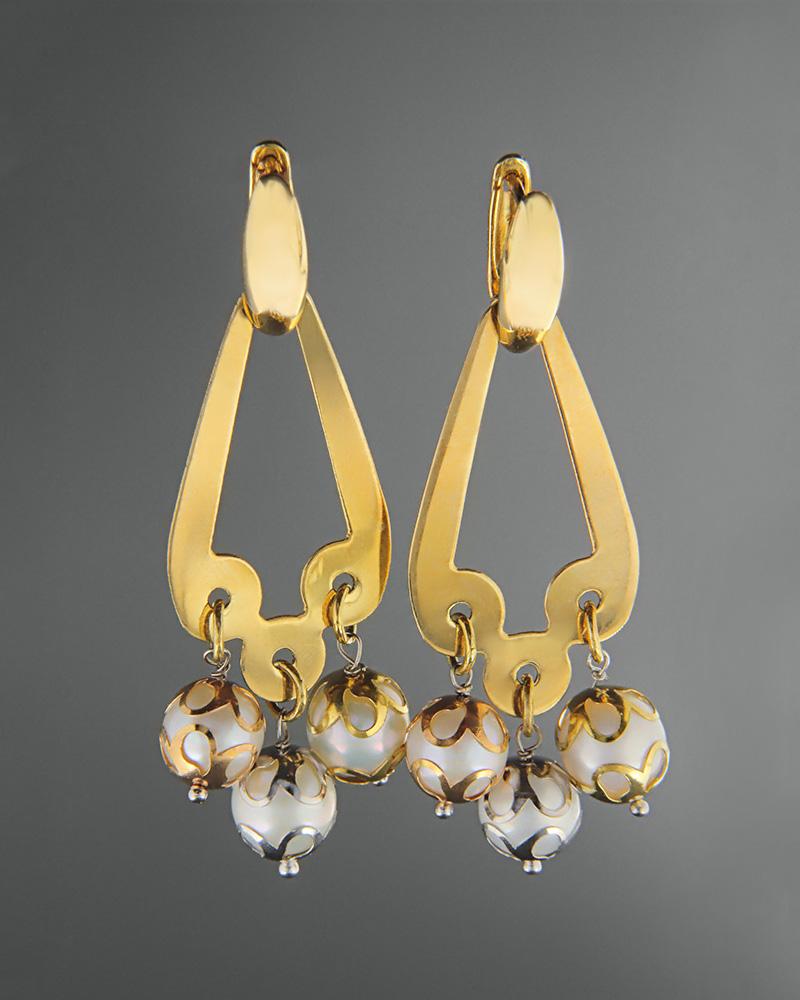 Σκουλαρίκια χρυσά Κ18 με πέρλες   γυναικα σκουλαρίκια σκουλαρίκια μαργαριτάρια