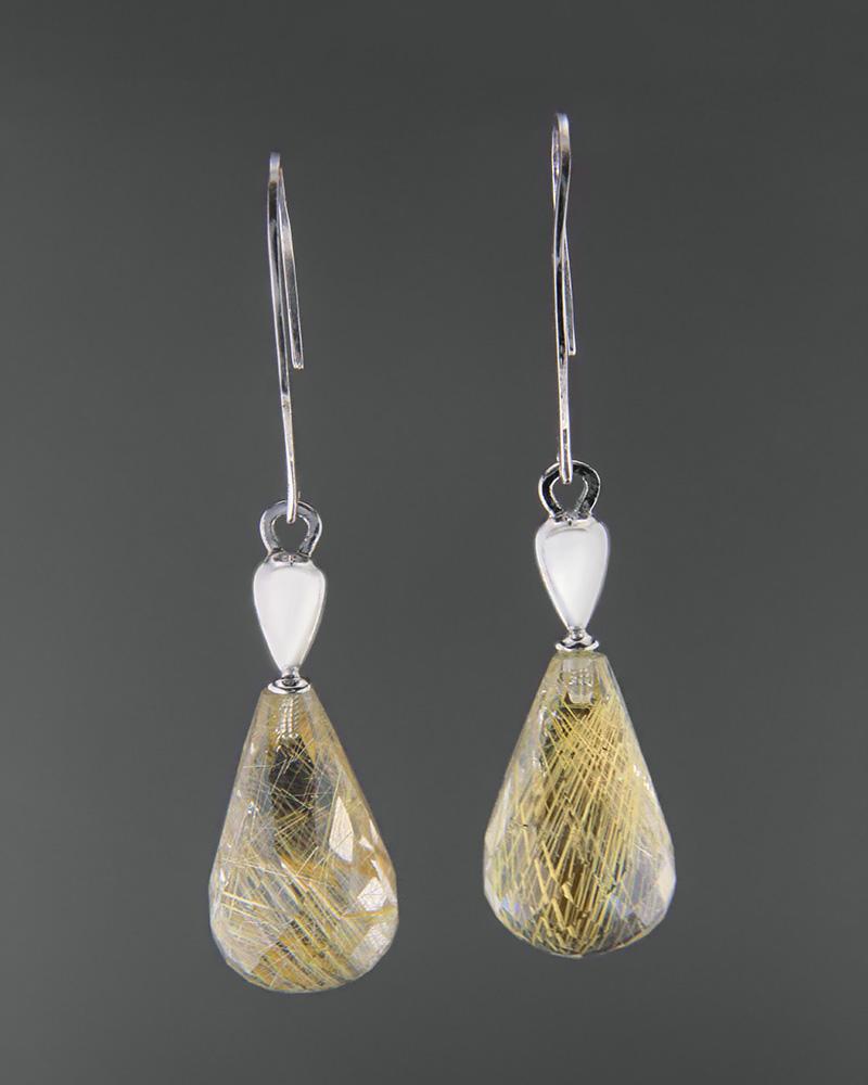 Σκουλαρίκια λευκόχρυσα Κ14   γυναικα σκουλαρίκια σκουλαρίκια ημιπολύτιμοι λίθοι