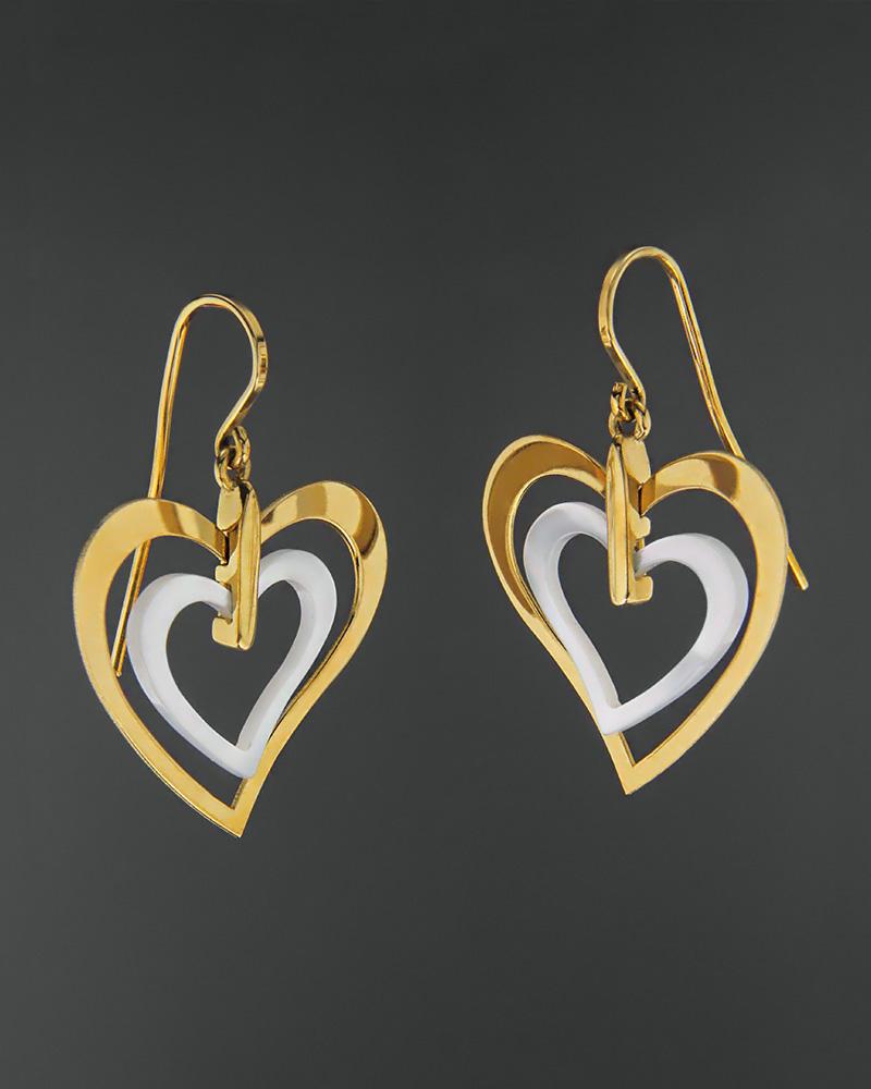 Σκουλαρίκια χρυσά Κ18 με φίλντισι   γυναικα κοσμήματα με καρδιές