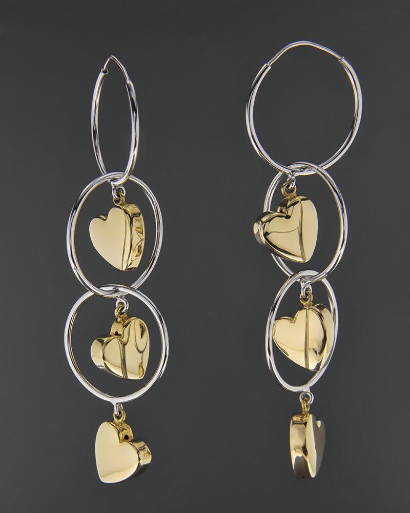 Σκουλαρίκια χρυσά & λευκόχρυσα Κ18   γυναικα κοσμήματα με καρδιές