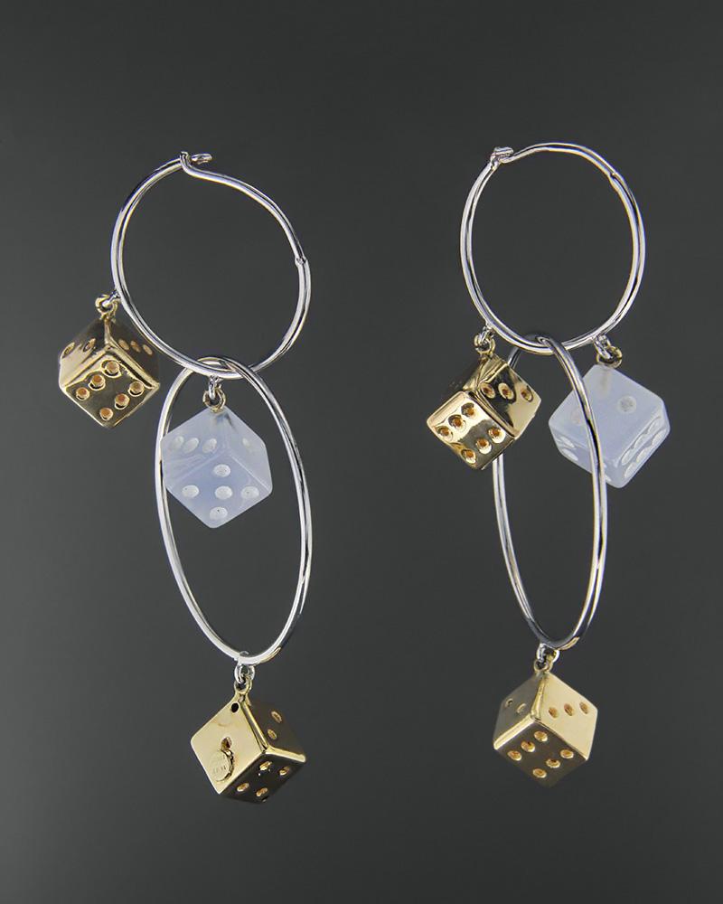 Σκουλαρίκια λευκόχρυσα & χρυσά Κ14   γυναικα σκουλαρίκια σκουλαρίκια λευκόχρυσα