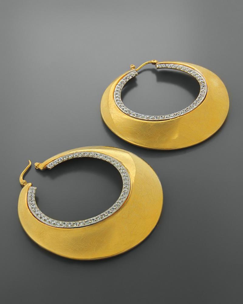 Σκουλαρίκια κρίκοι χρυσά Κ14 με ζιργκόν   κοσμηματα σκουλαρίκια σκουλαρίκια χρυσά