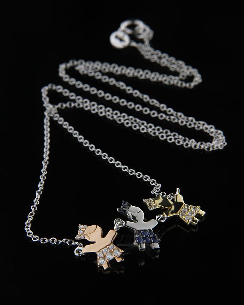 Κολιέ με κοριτσάκια χρυσό Κ18 με Διαμάντια & Ζαφείρια   γυναικα κρεμαστά κολιέ κρεμαστά κολιέ διαμάντια