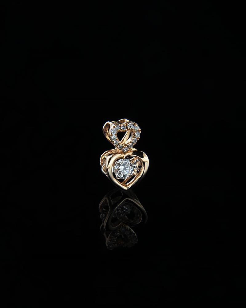 Μενταγιόν καρδιά ροζ χρυσή Κ18 με Διαμάντια   γυναικα κρεμαστά κολιέ κρεμαστά κολιέ ροζ χρυσό