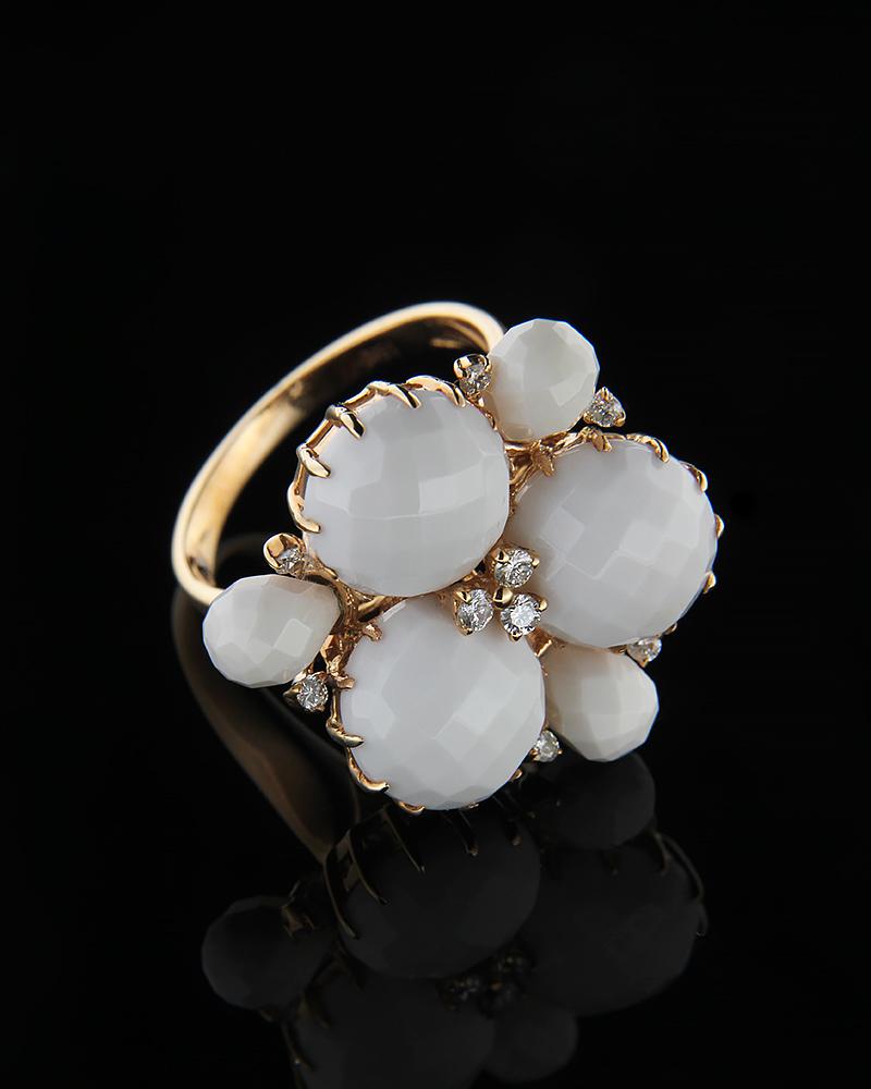 Δαχτυλίδι με ροζ χρυσό Κ18 με Όνυχα   Διαμάντια  fb8fefb058b