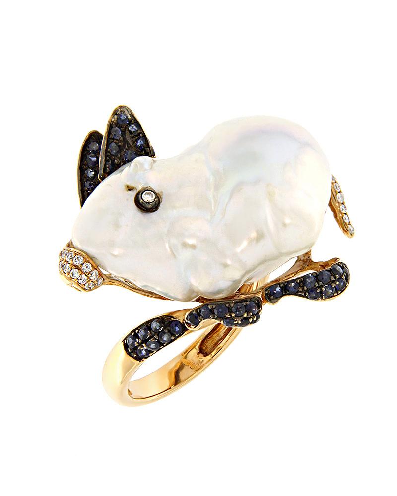 Δαχτυλίδι ροζ χρυσό Κ18 με Διαμάντια, Ζαφείρια & Μαργαριτάρι   γυναικα δαχτυλίδια δαχτυλίδια με μαργαριτάρια
