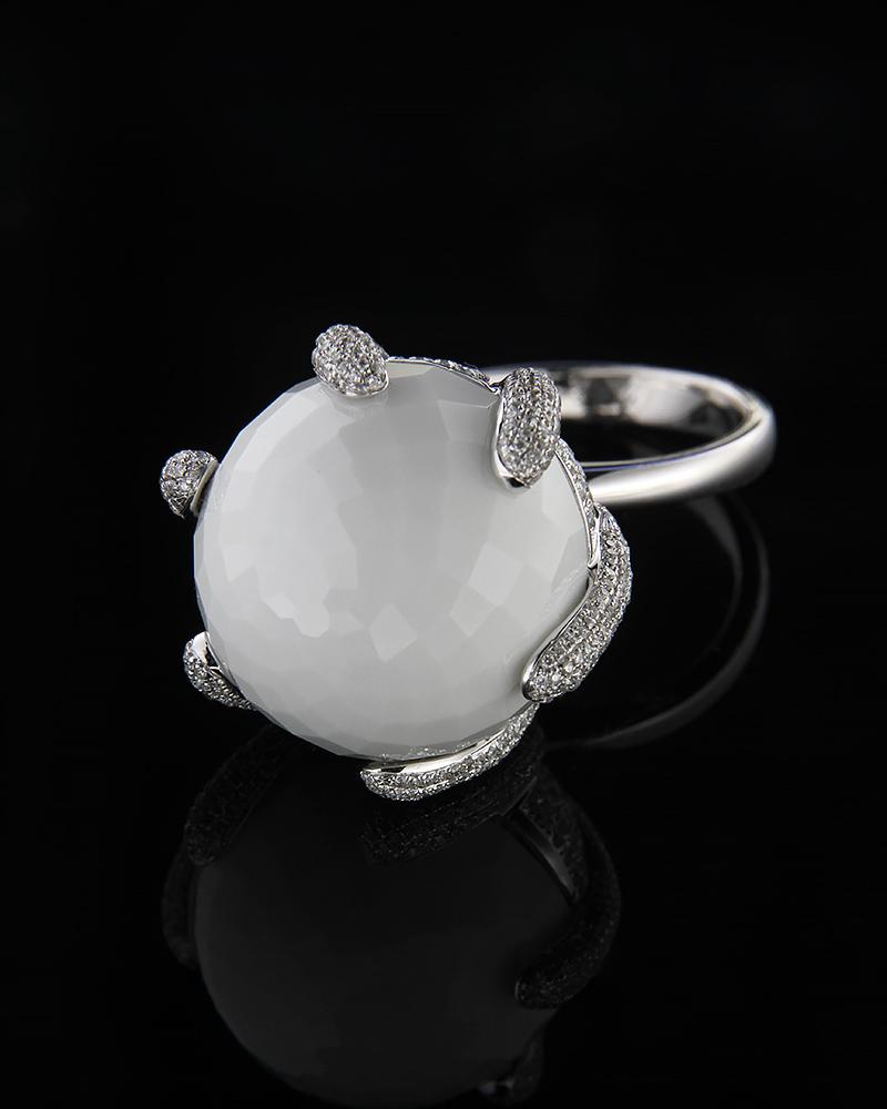 Δαχτυλίδι λευκόχρυσο Κ18 με Όνυχα & Διαμάντια   γυναικα δαχτυλίδια δαχτυλίδια λευκόχρυσα