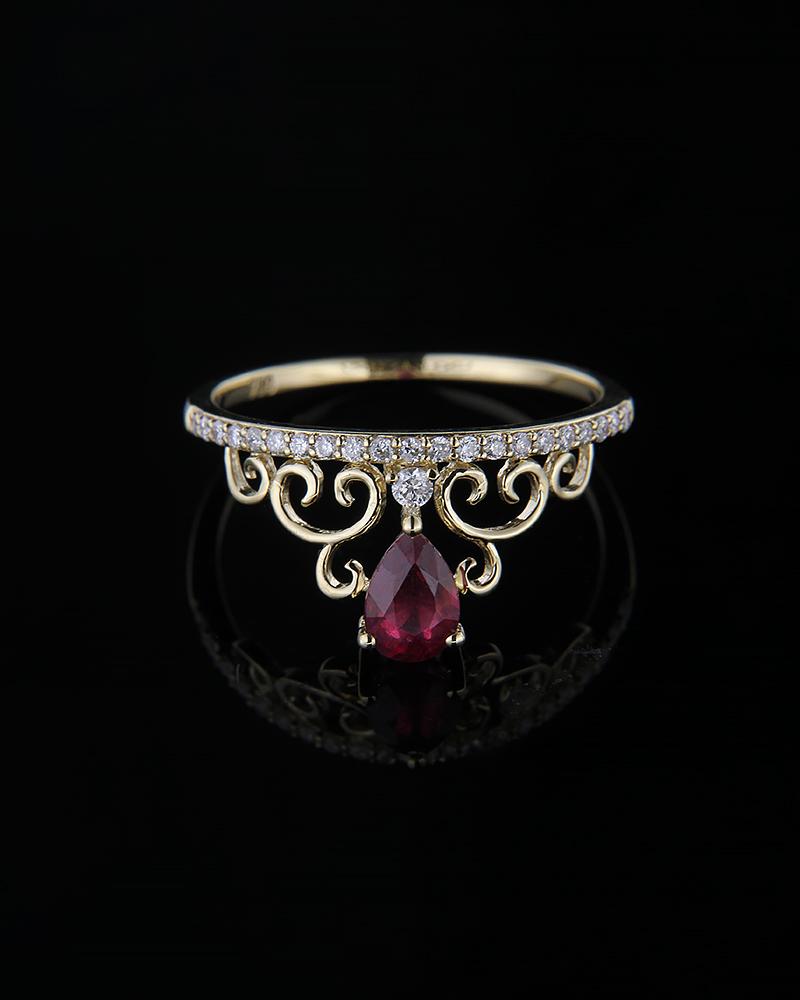 Δαχτυλίδι στέμμα χρυσό Κ18 με Διαμάντια & Ρουμπίνι   γυναικα δαχτυλίδια δαχτυλίδια διαμάντια