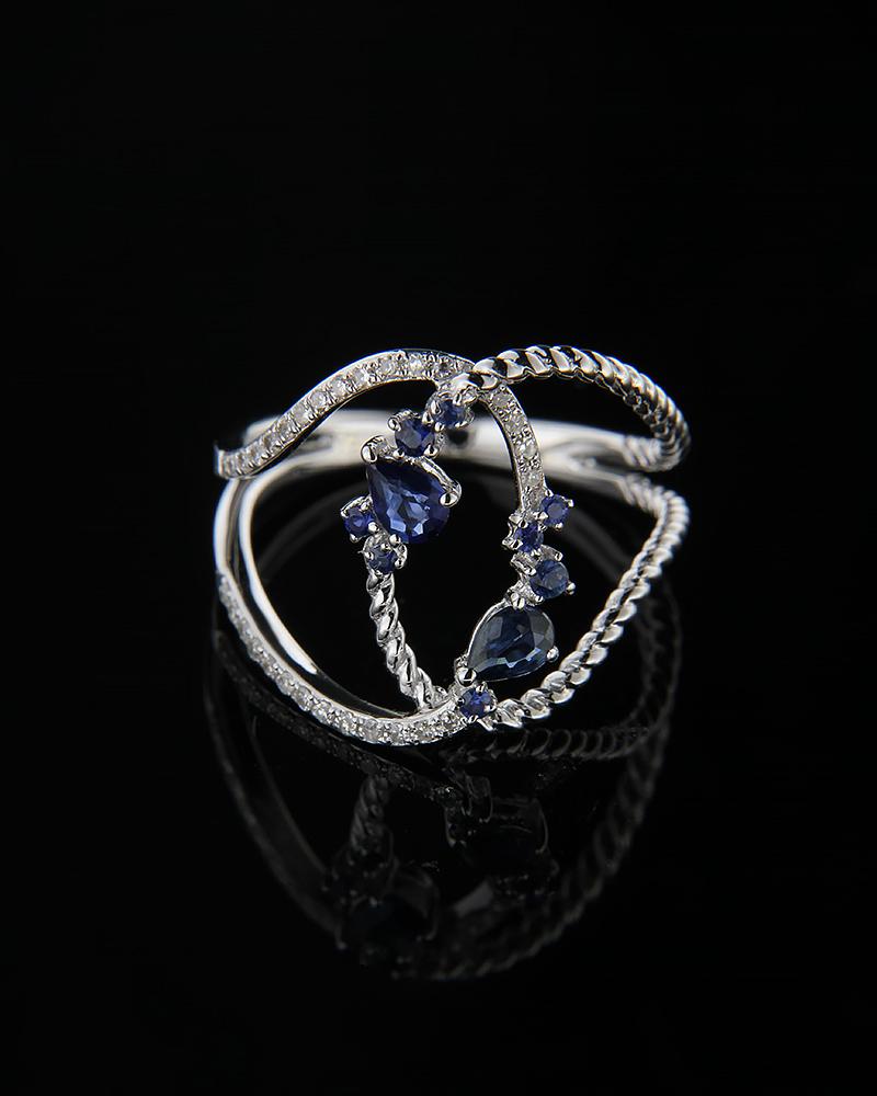 Δαχτυλίδι λευκόχρυσο Κ18 με Διαμάντια & Ζαφείρια   γυναικα δαχτυλίδια δαχτυλίδια διαμάντια