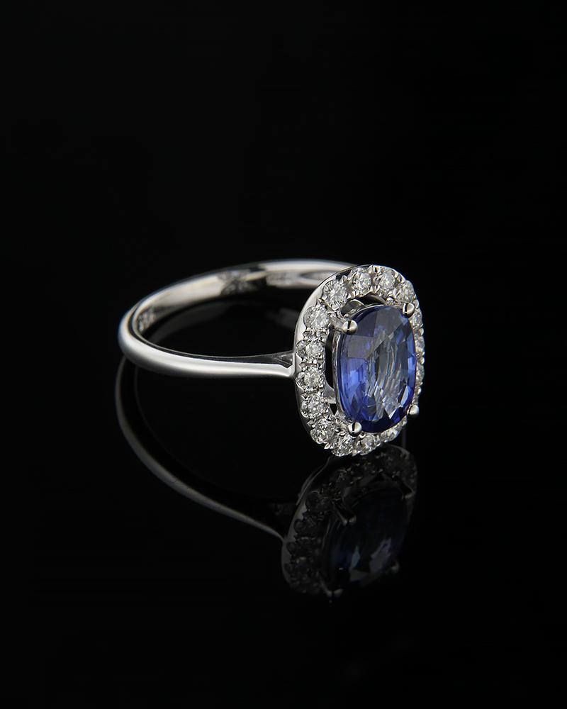 Δαχτυλίδι λευκόχρυσο Κ18 με Διαμάντια & Ζαφείρι   κοσμηματα δαχτυλίδια λευκόχρυσα δαχτυλίδια