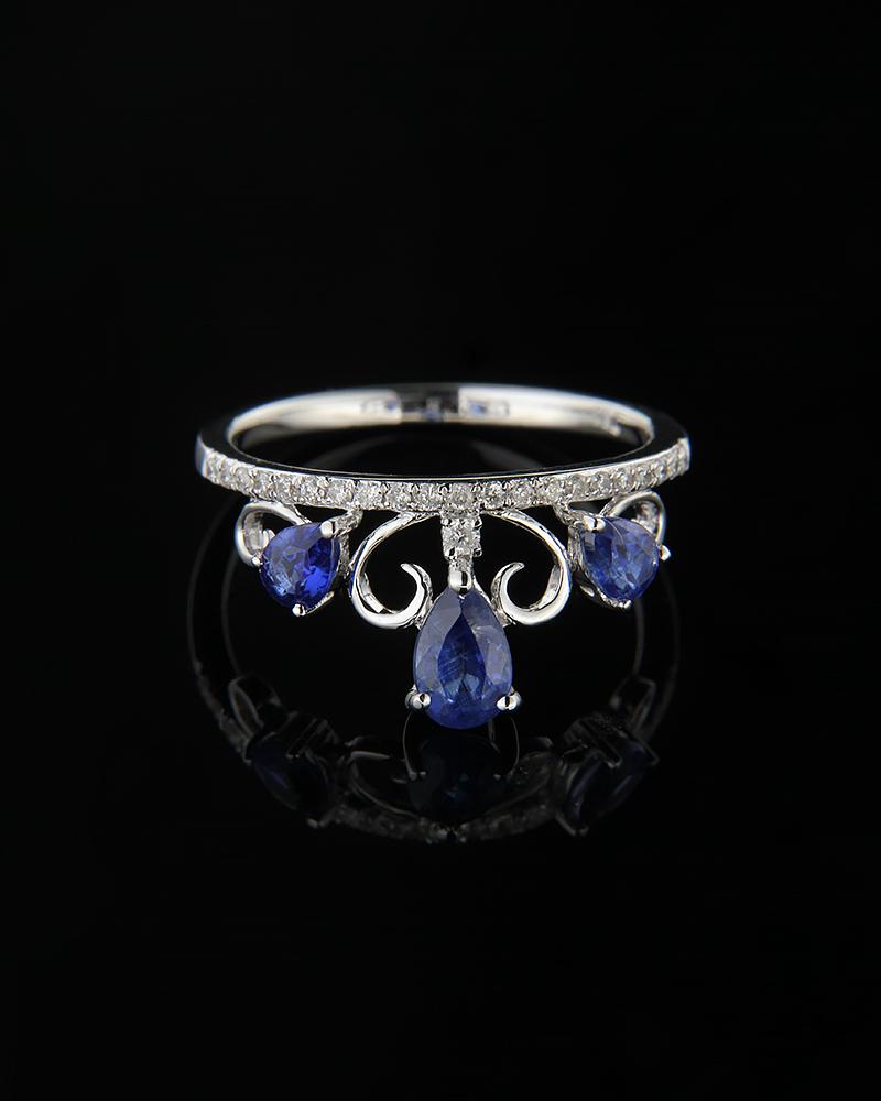 Δαχτυλίδι στέμμα λευκόχρυσο Κ18 με Διαμάντια & Ζαφείρια   γυναικα δαχτυλίδια δαχτυλίδια λευκόχρυσα