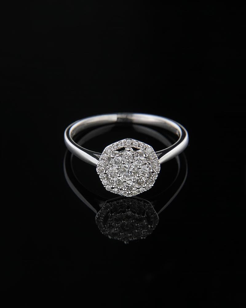 Δαχτυλίδι λευκόχρυσο Κ18 με Διαμάντια