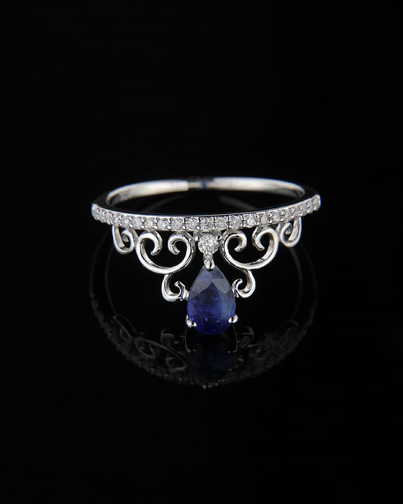 Δαχτυλίδι στέμμα λευκόχρυσο Κ18 με Διαμάντια & Ζαφείρι   γυναικα δαχτυλίδια δαχτυλίδια λευκόχρυσα