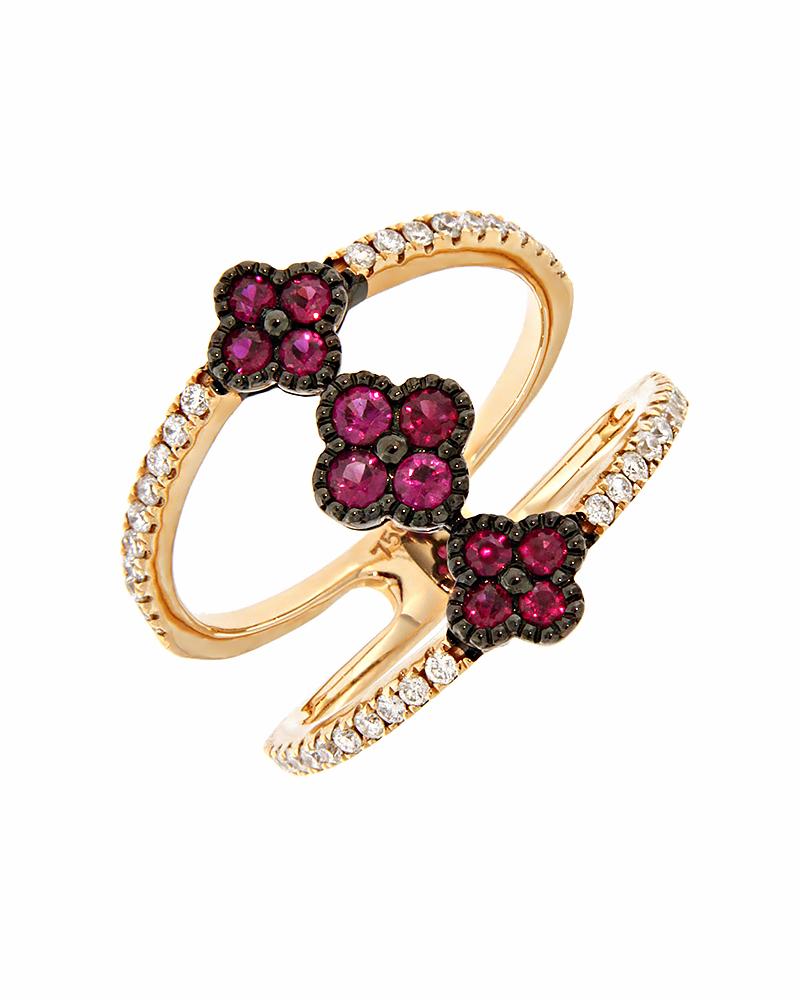 Δαχτυλίδι ροζ χρυσό Κ18 με Διαμάντια & Ρουμπίνια   γυναικα δαχτυλίδια δαχτυλίδια ροζ χρυσό