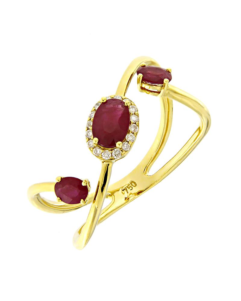 Δαχτυλίδι χρυσό Κ18 με Διαμάντια & Ρουμπίνια   γυναικα δαχτυλίδια δαχτυλίδια διαμάντια