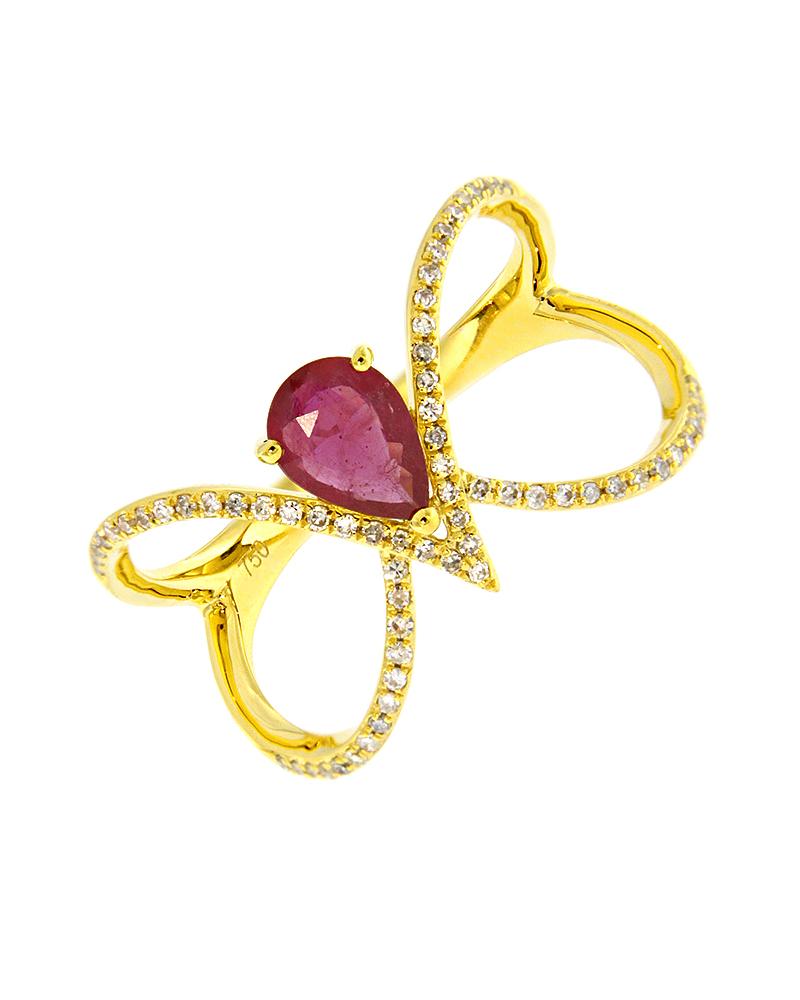 Δαχτυλίδι χρυσό Κ18 με Διαμάντια & Ρουμπίνι   κοσμηματα δαχτυλίδια χρυσά