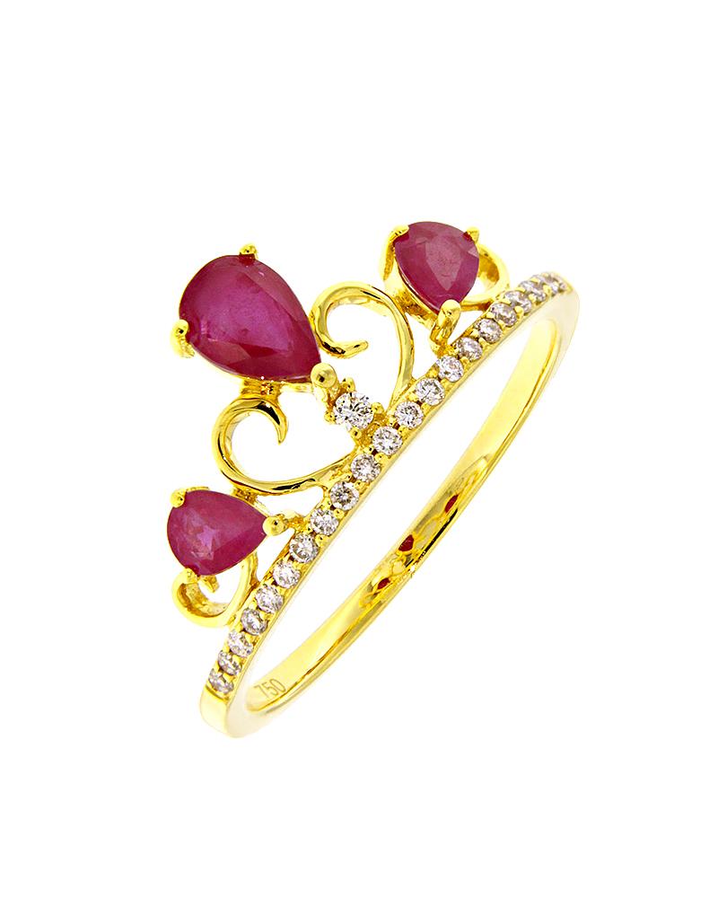 Δαχτυλίδι στέμμα χρυσό Κ18 με Διαμάντια & Ρουμπίνια   κοσμηματα δαχτυλίδια χρυσά