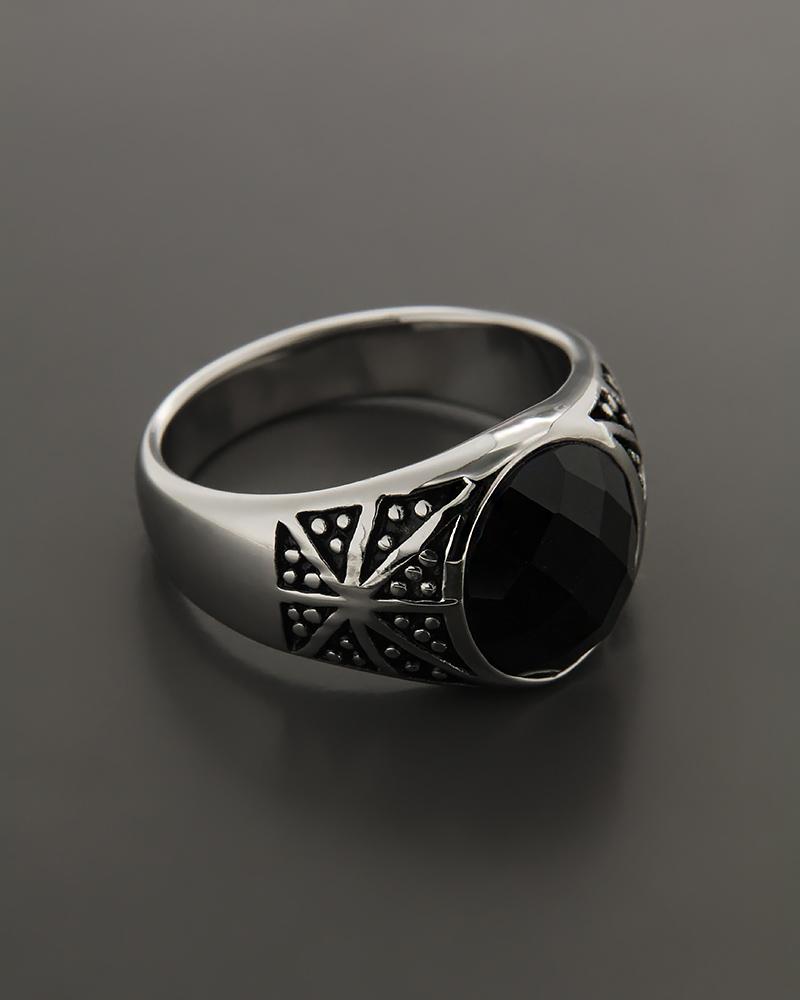 Δαχτυλίδι απο ατσάλι με κρύσταλλο   κοσμηματα δαχτυλίδια δαχτυλίδια ανδρικά