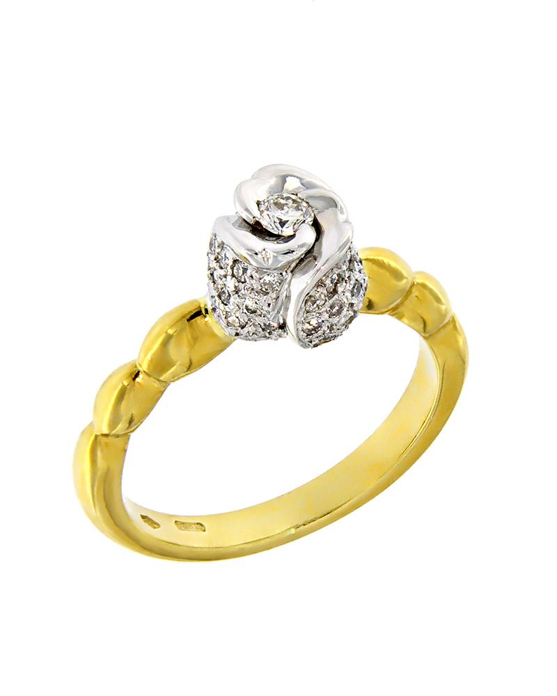 Μονόπετρο δαχτυλίδι λουλούδι χρυσό & λευκόχρυσο Κ18 με Διαμάντια   γαμοσ μονόπετρα μονοπετρα με διαμάντια