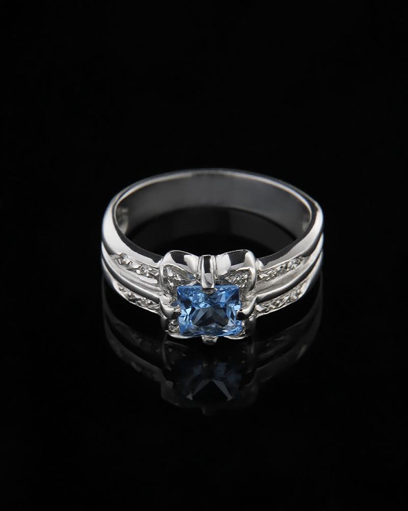 Δαχτυλίδι λευκόχρυσο Κ18 με Διαμάντια & Τοπάζι   κοσμηματα δαχτυλίδια λευκόχρυσα δαχτυλίδια