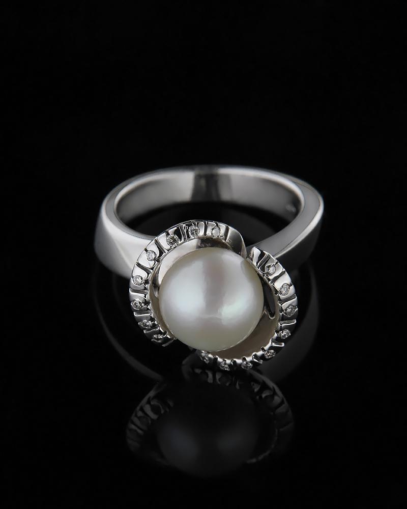Δαχτυλίδι λευκόχρυσο Κ18 με Διαμάντια & Μαργαριτάρι   γυναικα δαχτυλίδια δαχτυλίδια διαμάντια