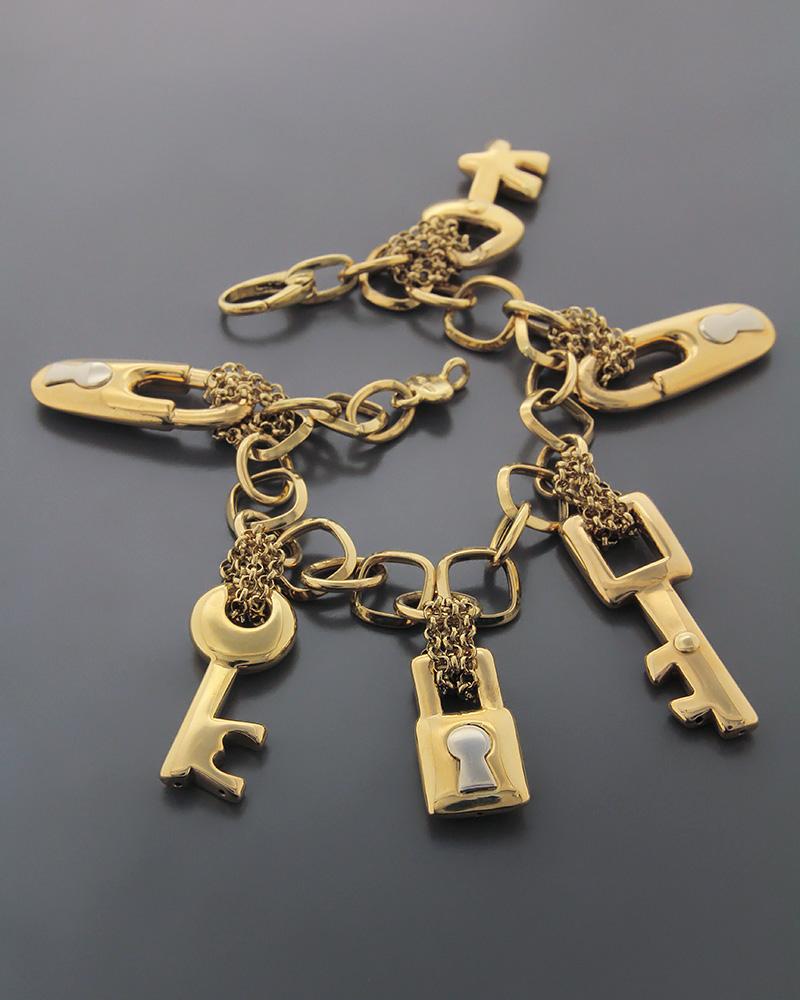 Βραχιόλι χρυσό & λευκόχρυσο K18 με Κλειδιά και Λουκέτα   γυναικα βραχιόλια βραχιόλια χρυσά
