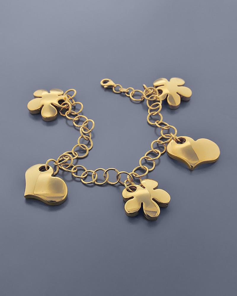 Βραχιόλι χρυσό K18 με μαργαρίτες και καρδιές   κοσμηματα κοσμήματα με καρδιές