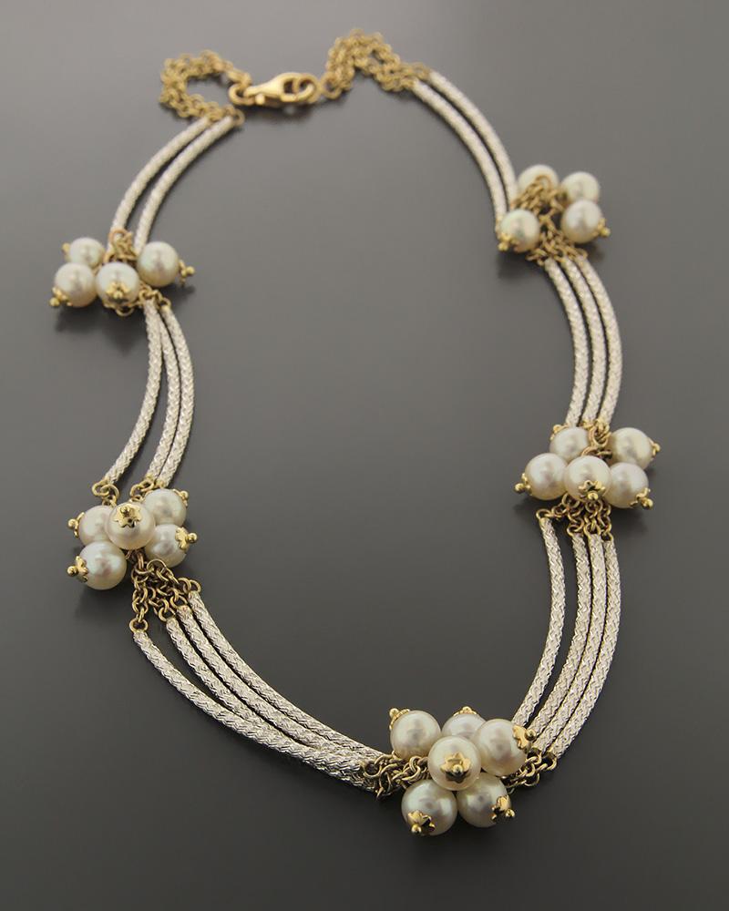 Κολιέ χρυσό και λευκόχρυσο K14 με Μαργαριτάρια   κοσμηματα κρεμαστά κολιέ κρεμαστά κολιέ λευκόχρυσα
