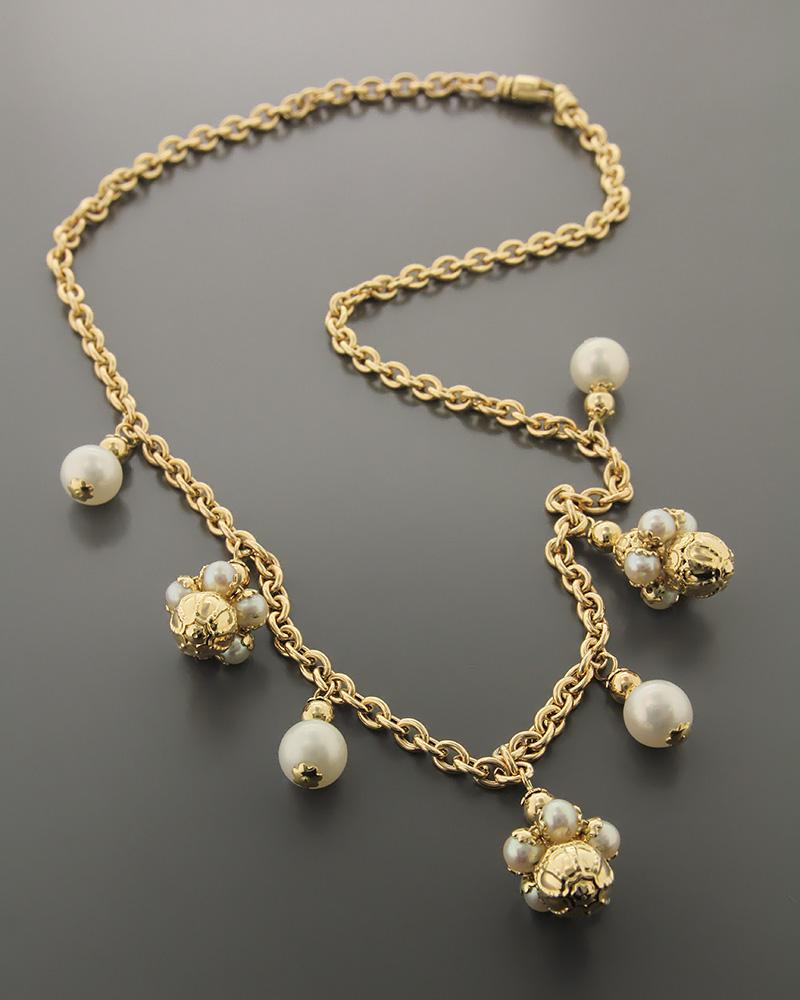 Κολιέ χρυσό K14 με Μαργαριτάρια   γυναικα κρεμαστά κολιέ κρεμαστά κολιέ χρυσά